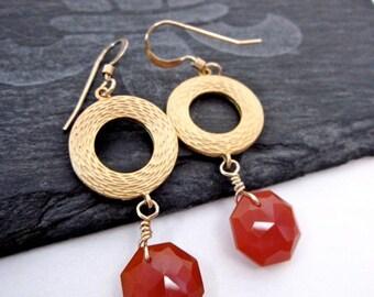 Carnelian & Gold Earrings -- Bead Hoop Earrings -- Orange Hoop Earrings -- Orange Bead Dangles -- Carnelian Earrings -- Dark Orange Earrings
