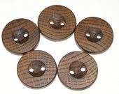 """5 Handmade oak wood buttons , accessories (1,38"""" diameter x 0,28"""" thick)"""