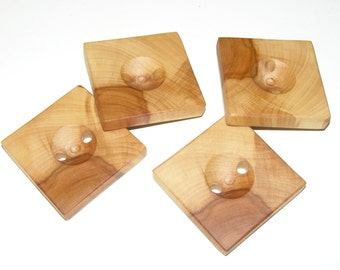 "4 Handmade apple wood buttons, accessories (1,65x1,65"" diameter x 0,28"" thick)"