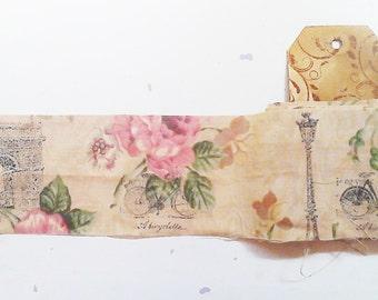 Ribbon. French Ribbon. Shabby Fabric Ribbon. Handmade Ribbon. Stamped Ribbon. Fabric Ribbon. Frayed Ribbon. French Ribbon. Vintage Ribbon.