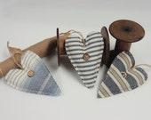 Primitive Hearts - Rustic Country Decor - Nursery Decor - Blue/White Stripes - Simple - Soft Sculpture Ornaments - Cabin & Lakehouse Decor