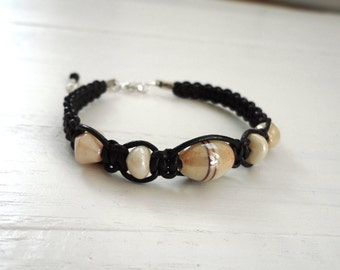 Knotted leather bracelet beige glass beads black macrame cuff unisex men women