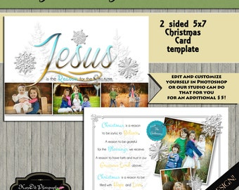 INSTANT DOWNLOAD Christmas card template The Reason 5x7 psd file , customized , Religious,personalized Holiday card