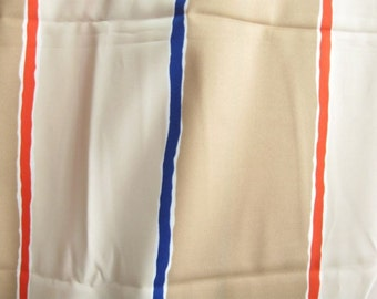 Tan Red Blue Stripe Rayon Fabric Yardage Destash