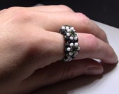 Black and White Seed Bead Ring