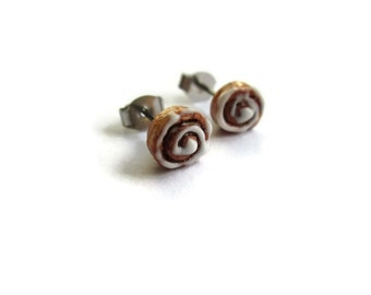 Miniature Cinnamon Roll Earrings - Tiny Food Jewelry