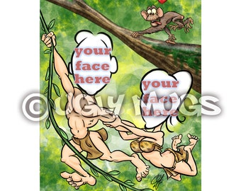 Custom Tarzan and Jane Jungle Couples Two-Person Caricature from Photos