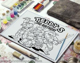 Ninja Turtle Printable Coloring Page - Printable Coloring Placemat - Printable Party Favors - ninja turtles Party Printables