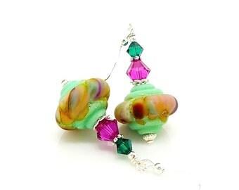 Mint Green & Pink Earrings, Old World Earrings, Rustic Earrings, Lampwork Earrings, Glass Earrings, Lampwork Jewelry, Unique Earrings