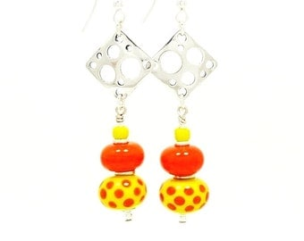 Orange Yellow Earrings, Polka Dot Earrings, Lampwork Earrings, Beadwork Earrings, Glass Bead Earrings, Dangle Earrings, Sterling Earrings