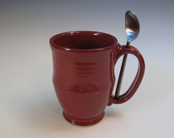 Brick Red Pedistal Office Desk Mug and Spoon Set - Holds 16 ounces - for Coffee or Tea