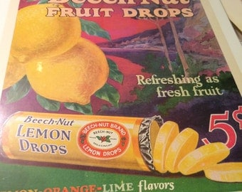 1926 Beech-Nut fruit drops graphic 13 x 10 ad all original and colorful.