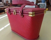 LAYAWAY #1 for jel105 -  Vintage Deadstock Brick Red Square Leather Basket shape Handbag by J. MAS VALENCIA
