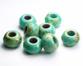 Turquoise with Silver and Green Picasso Czech Glass Roller 12mm Faceted Large Hole Beads 8 pcs. Roller/048