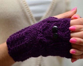 Owl, Purple Owl Gloves, Hand Knit Owl Gloves, Fingerless Owl Gloves, Arm Warmers, Plum, Aubergine, Fall Fashion