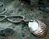 Copper Moon -:- Copper & silver moon pendant necklace. Rustic. Zen. Modern. Abstract.