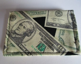 SALE Money Fabric Wallet, Credit Card Wallet, Business Card Wallet, Small Wallet, Gift Card Holder, Your So Money, Cash Holder, Billfold