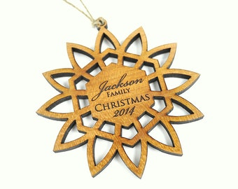 Personalized Christmas Ornament Laser Engraved Wood Wooden Snowflake