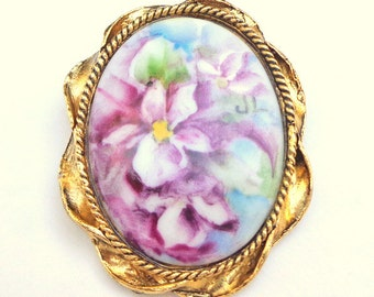 Vintage, Hand Painted Porcelain, Purple Violets, Flower Cameo Brooch, Signed by Artist, Origional Painting, Art Brooch, Pastel Colors, OOAK
