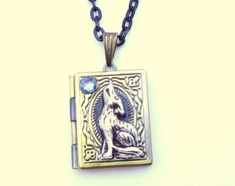 Werewolf Locket Necklace, (with blue moon,) Book Locket