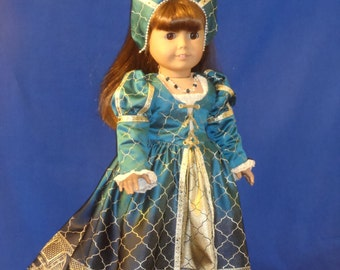 OOAK Renaissance, Tudor dress for your American Girl by CarmelinaCreations
