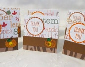 Handmade Mini Thank You Cards Fall set of 25 with Pumpkins Clearance