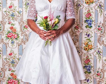 Ivory Silk Dupion Lace Sweetheart Wedding Dress with Circle Skirt - Made by Dig For Victory