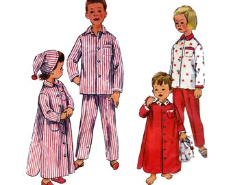 50s Toddlers Pajamas Nightshirt Night Cap Pattern Simplicity 2288 Vintage Sewing Pattern Size 3 Breast 22 Inches