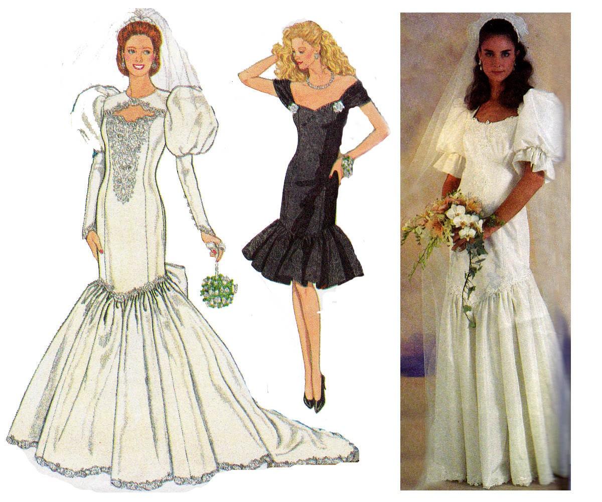 Mermaid Wedding Dress Pattern Simplicity 7058 Puffy Sleeves