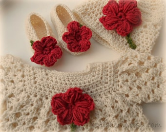 Soft Cream and Coral Hand Crocheted Baby Dress Hat and Booties Set 0-3 Months