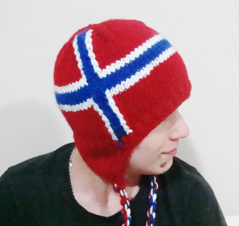 Norwegian Teacher Gift Norwegian Flag Hat Hand Knit Hat in