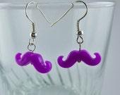Neon Purple Mustache Earrings
