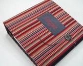 Modern Baby Book - red gray stripe- boy memory album