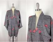 Vintage Silk Haori / Short Robe / Kimono Cardigan / Kimono Jacket / 1950s Black White Shibori Floral Print