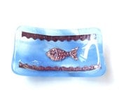 Sushi Soy Sauce Dish Fused Glass Sushi Fused Glass Fish Blue Art Glass Plate Handmade