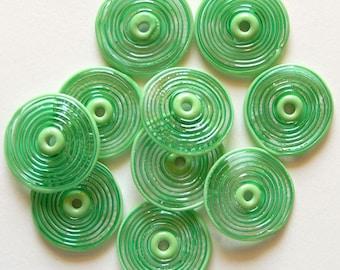 Emerald Green Glass Disc Beads, FREE SHIPPING,Set of Handmade Lampwork Spiral Beads - Rachelcartglass