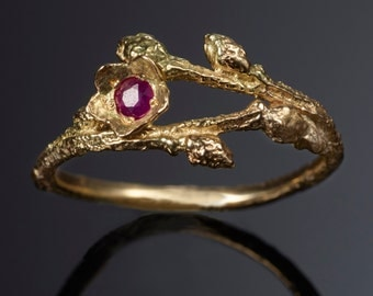 14K Solid Gold Wild Blueberry Branch & Bud Ring with Red Ruby -- Nature Cast -- Twig Engagement Ring