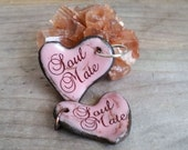 SOUL MATE Valentine Heart Pendant Pink Red Ceramic Heart Brown Boho Gypsy Soulmate Gift Rustic Gift for Her Ceramic Pendant