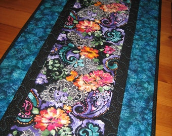 Table Runner, Purple, Blue, Orange Pink Paisley and Lace Quilted Handmade Table Decor