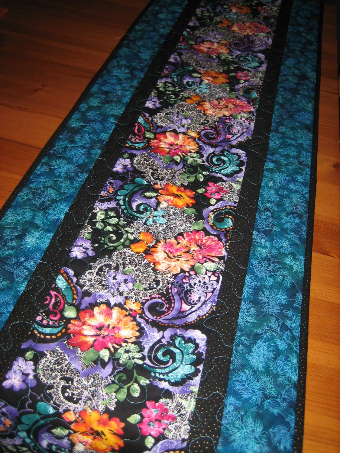 Table Runner Purple Blue Orange Pink Paisley And Lace