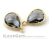 SALE/ 10pcs / P2760 Gold plated, Black Diamond, Charcoal, Framed Glass drop, Framed faceted glass stone, Glass pendant, 12X17mm
