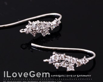 NP-1600 Rhodium Plated, Earwire, 2pcs