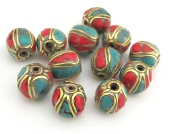 10 Beads - Nepal Brass beads with turquoise coral inlay - BD647