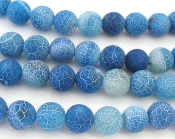 10 BEADS - Fire agate cool blue dragon veins gemstone beads-  GM353