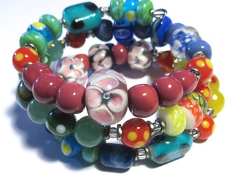 Memory Wire Bangle with Kazuri Beads, Glass Beads and Semi Precious Stones