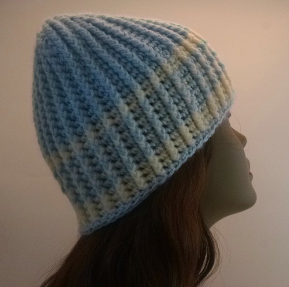 Unisex Light Blue and Cream Cabled Beanie Gift Under 25 Dollars