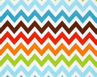 NEW!  Designer Ironing Board Cover - Robert Kaufman's Remix Chevron Bermuda Orange/Blue