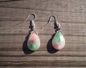 Faceted Candy Jade French Hook Earrings I