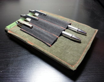 "Tactical Investigator I, Field Notebook Cover (Hunter Orange Thread w/Foliage Green) with Black Elastic Pen Holder - Size 6"" X 3 5/8"""