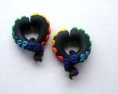 Dark Rainbow Tentacle Earring - Fake Gauge - Octopus - Black
